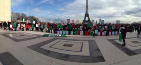 Rassemblement au Trocadéro le 10 mars 2018, pour les 100 ans du SNJ.